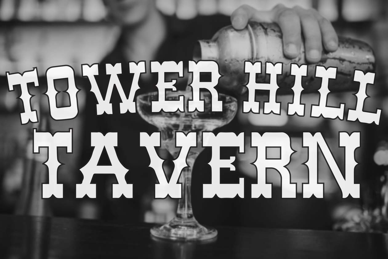 Tower Hill Tavern logo with a bartender pouring a margarita
