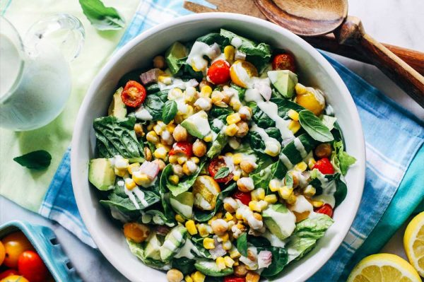 Spinach Avocado and Bean Salad